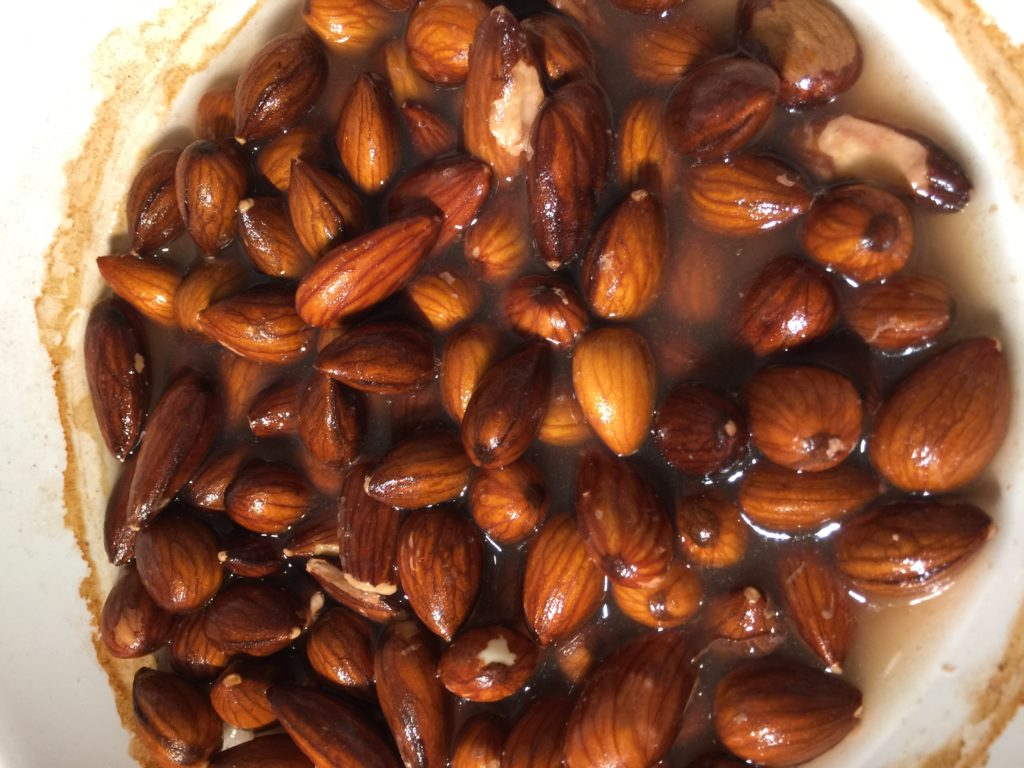 Image of soaked almonds for no bake peanut butter cheesecake