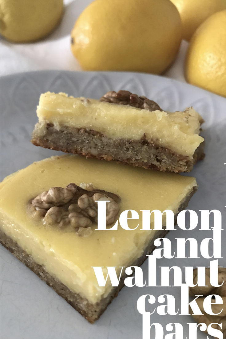 Image of Lemon and walnut cake bars