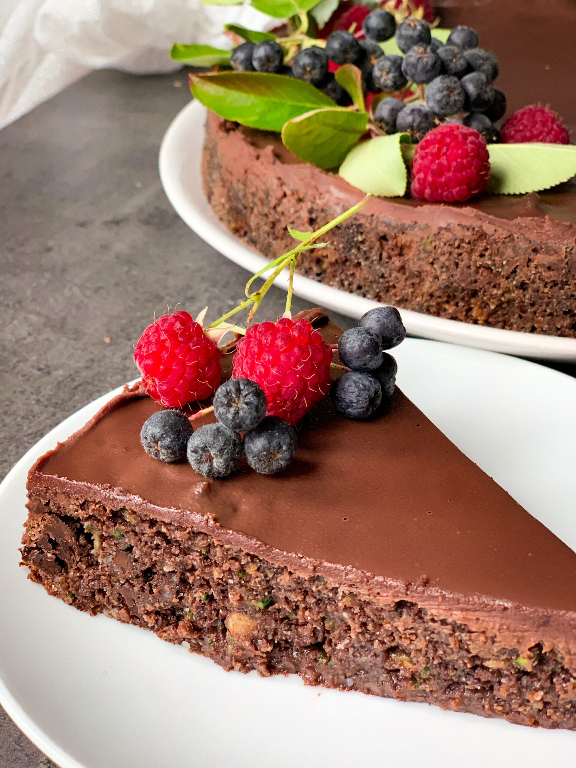 Keto chocolate zucchini cake with walnuts