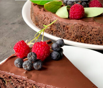 Picture of keto zucchini chocolate cake with chocolate ganache and berries on top