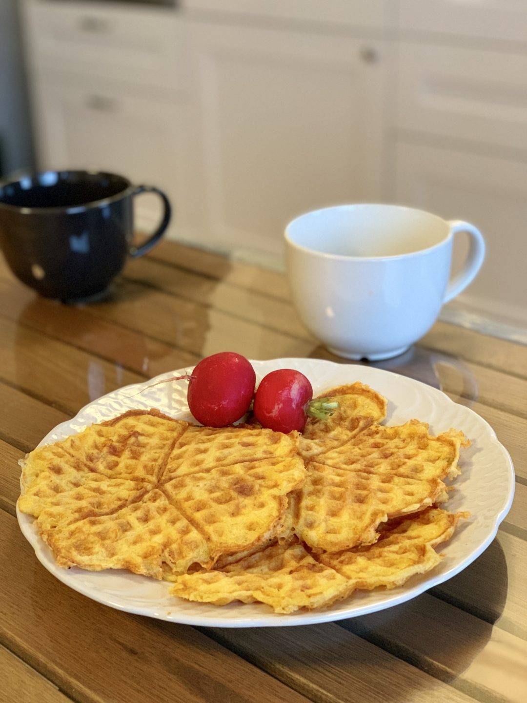 Picture of savory keto waffles with cheese and chicken