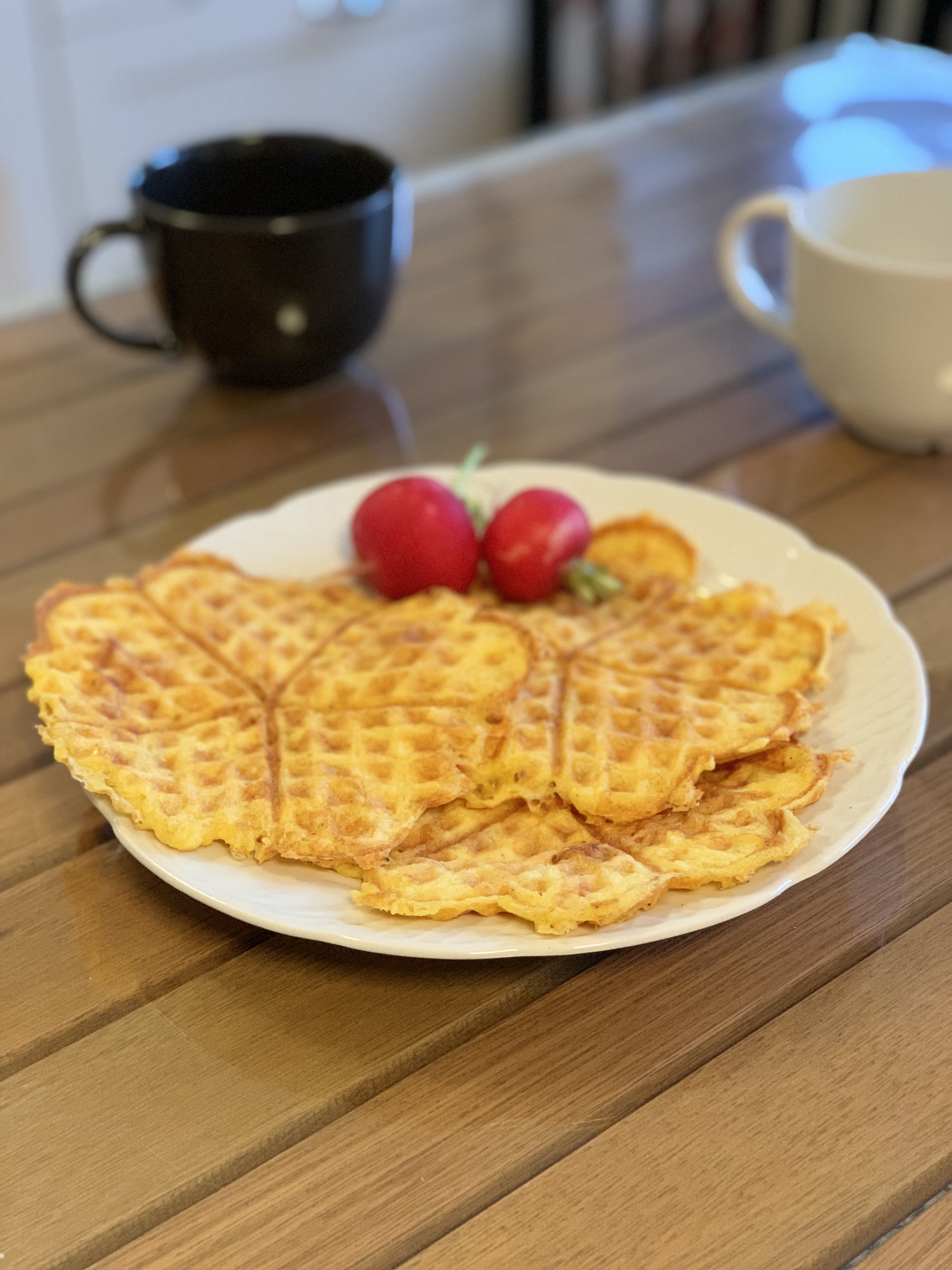 Savory keto waffles with cheese and chicken and ham