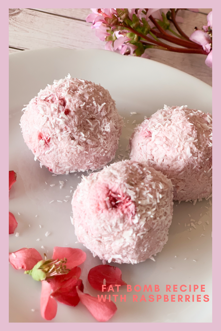 Picture of delicious keto fat bombs with berries and coconut
