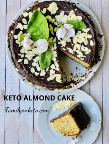 Image of keto almond cake on a wooden surface