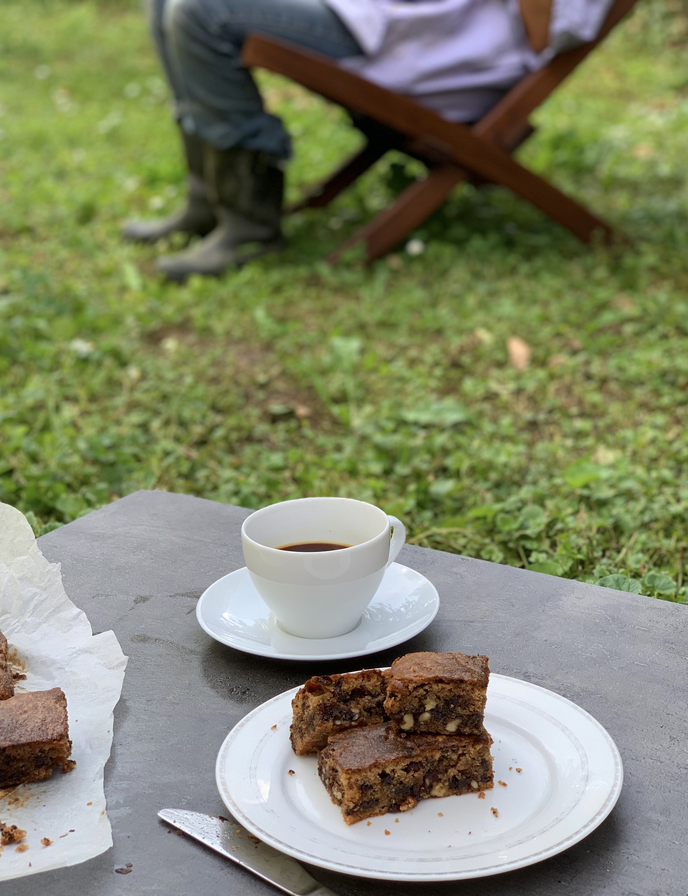Picture of keto blondies on a garden table