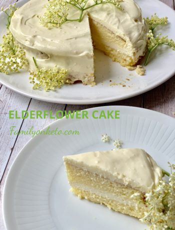 Picture of a slice of sugar free elderflower cake