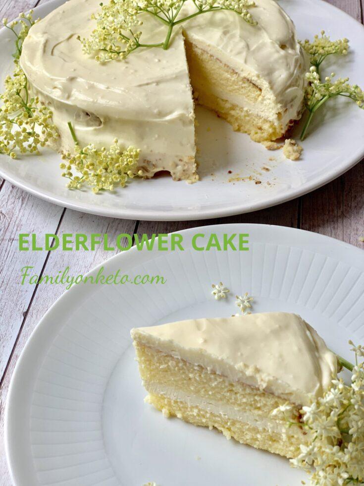 Picture of a slice of sugar free elderflower cake