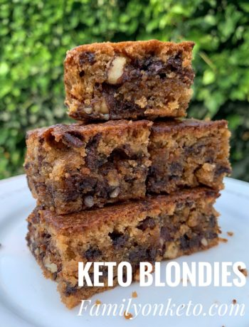 Picture of keto blondies with wlnuts and chocolate