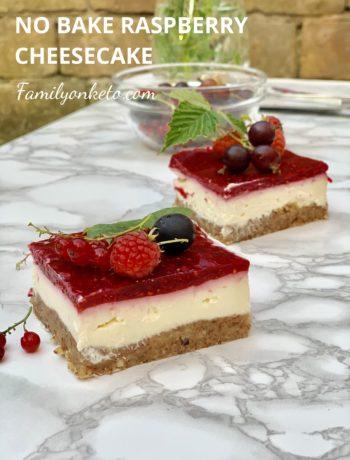 Picture of 2 slices of no bake raspberry cheesecake keto recipe