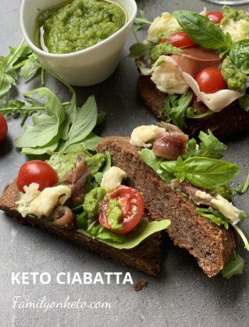 Picture of keto chabatta Italian keto bread with anchovies and prosciutto
