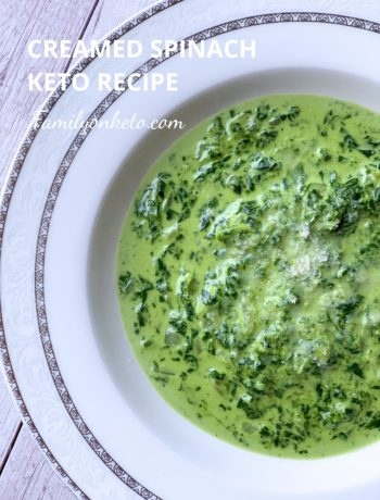 Picture of keto creamy spinach in a plate on the table