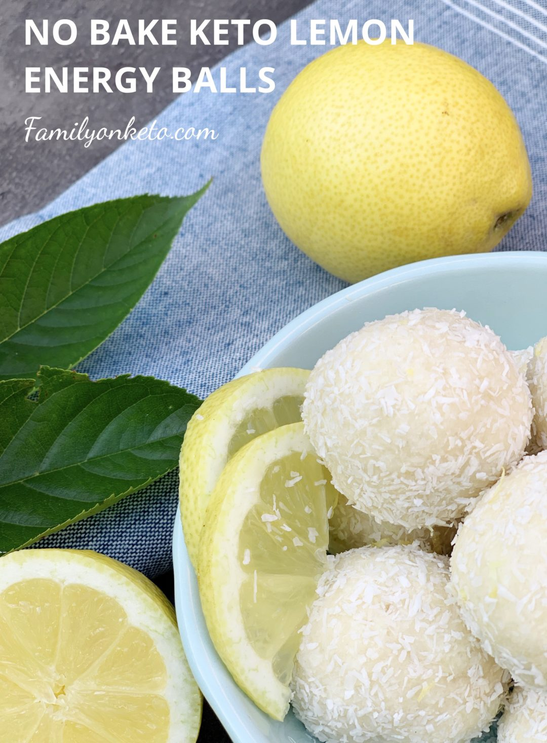 Picture of no bake keto lemon energy balls in a bowl on the table