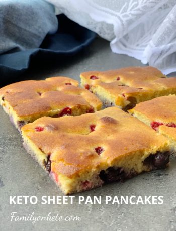 Picture of pan sheet keto pancakes with red currants and blueberries