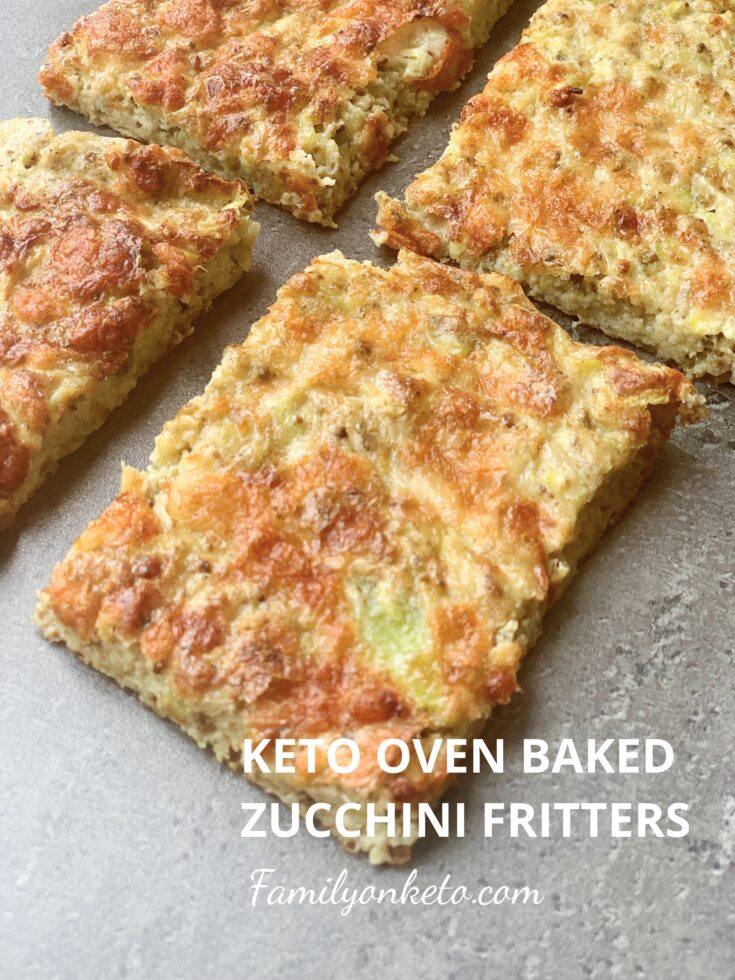 Picture of keto oven baked zucchini fritters slices on the table