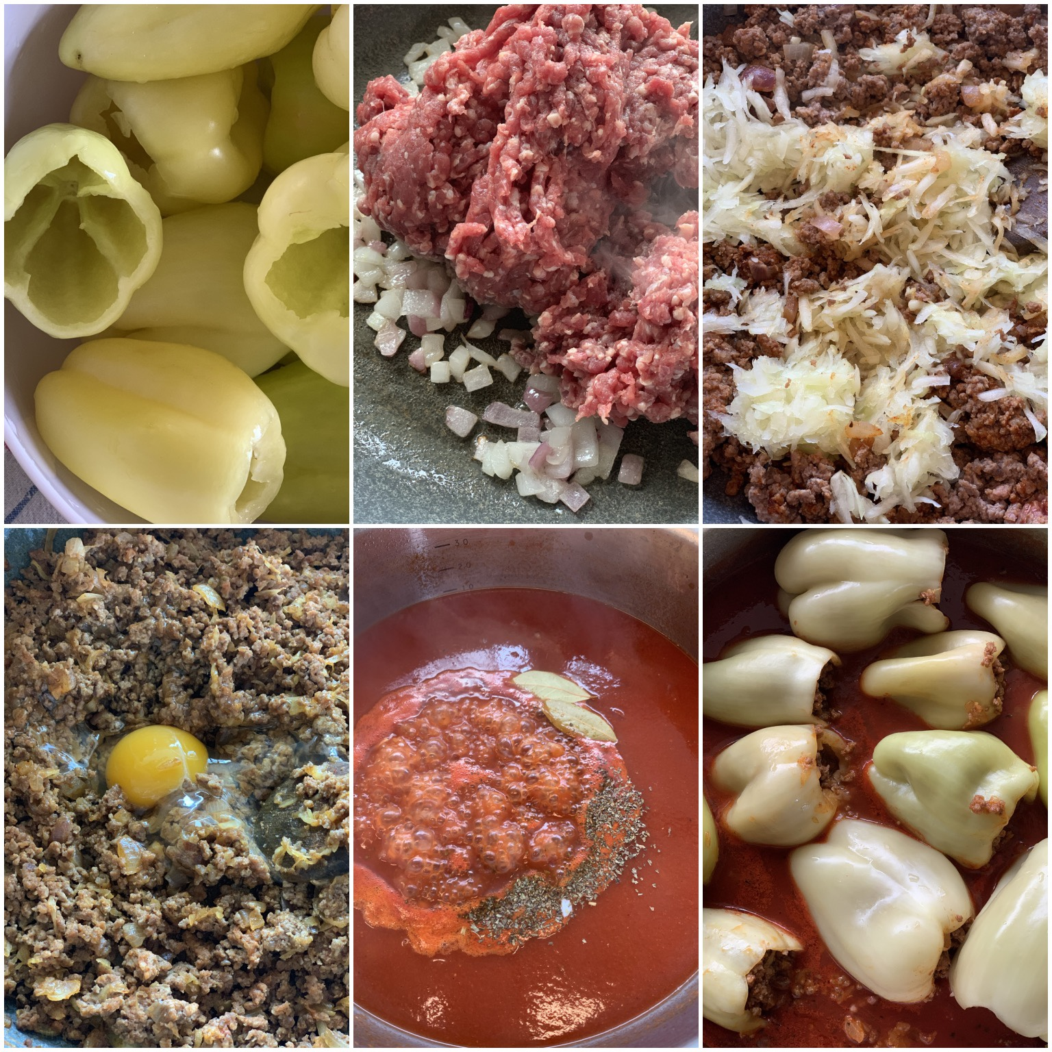 Picture of a procedure to prepare Balkan style low carb stuffed peppers with ground beef, baked in the oven in tomato sauce