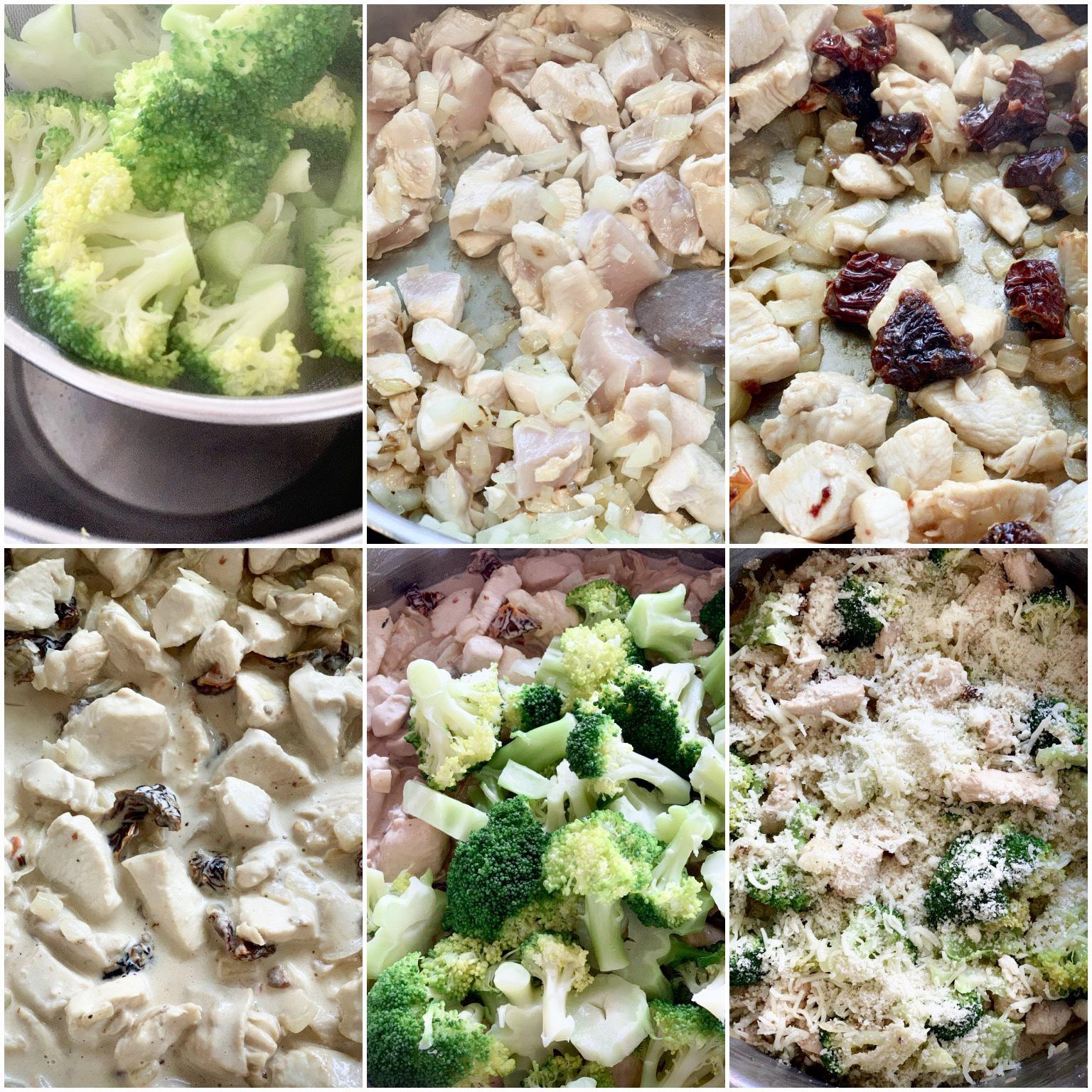 Picture of procedure to prepare broccoli and chicken casserole with mascarpone and dried tomato sauce