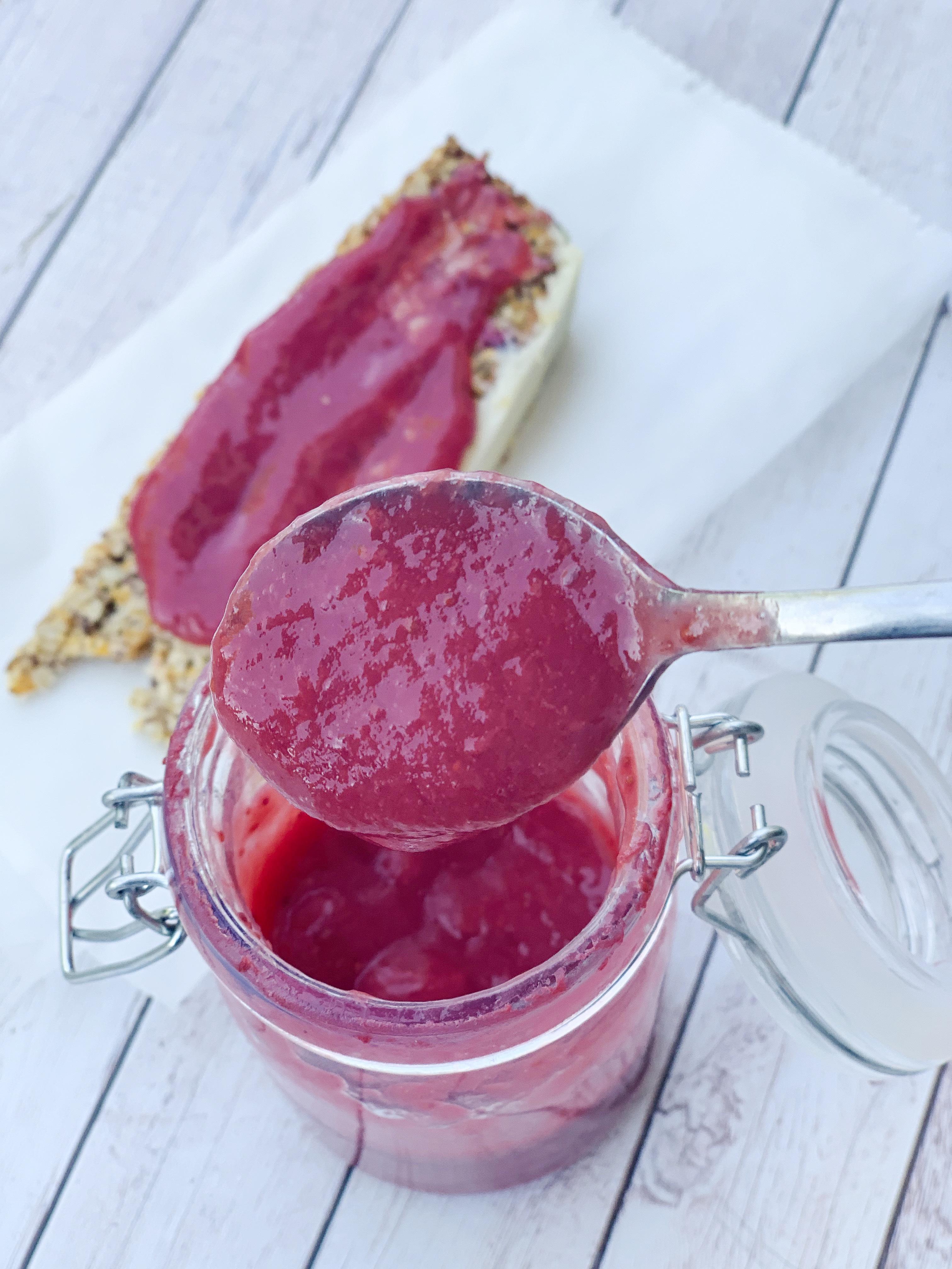 Strawberry keto jam in a jar