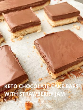 Picture of keto chocolate cake bars with strawberry jam