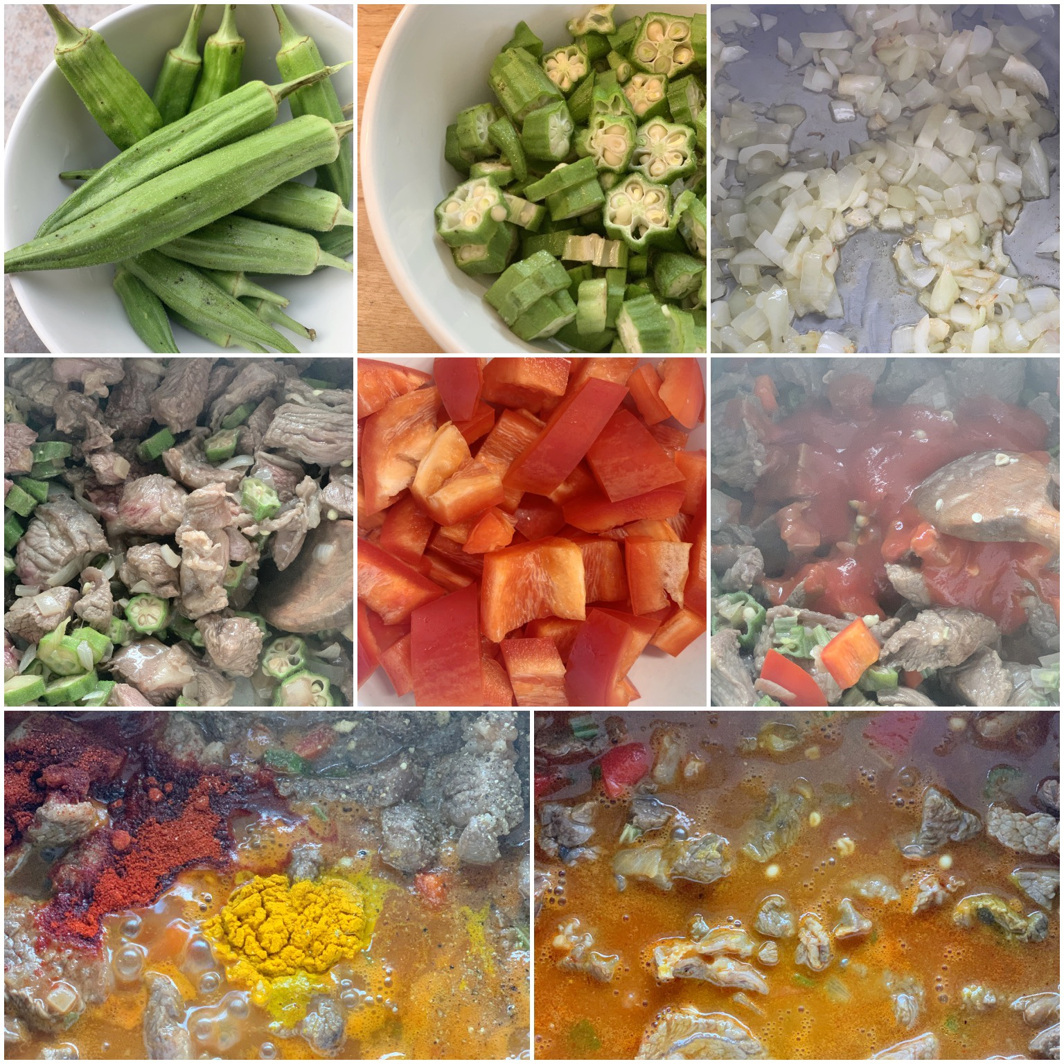 Picture of procedure to prepare keto stew with okra and beef