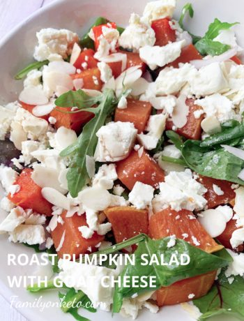 Picture of bowl of leafy green salad with roasted pumpkin and feta cheese