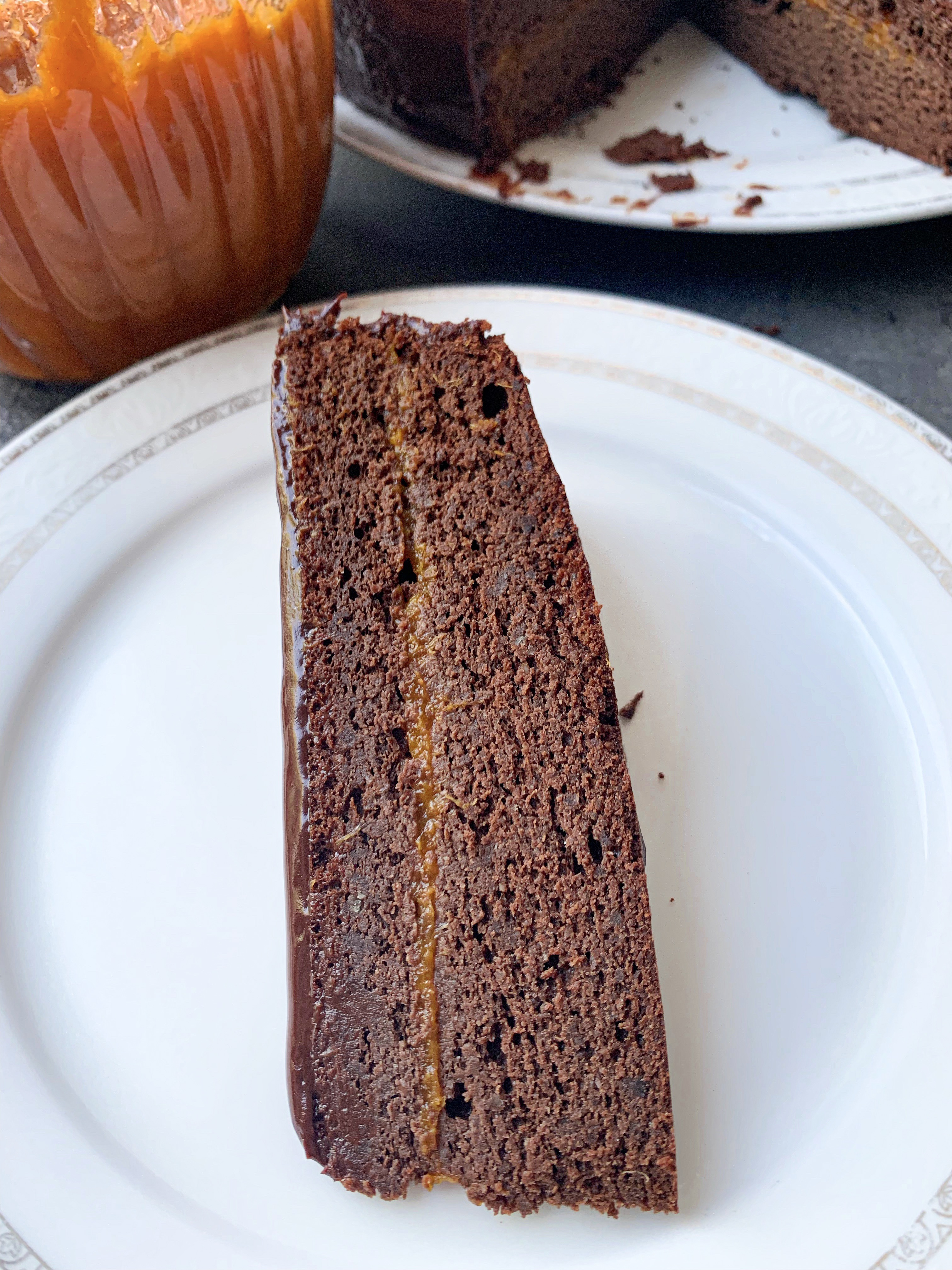 Picture of a slice of keto chocolate flourless Sacher cake