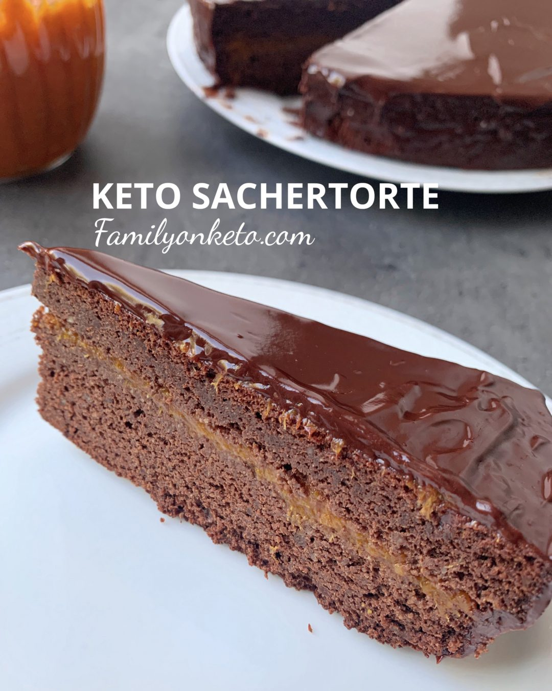 Picture of keto Sacher torte or low arb chocolate cake with apricot jam