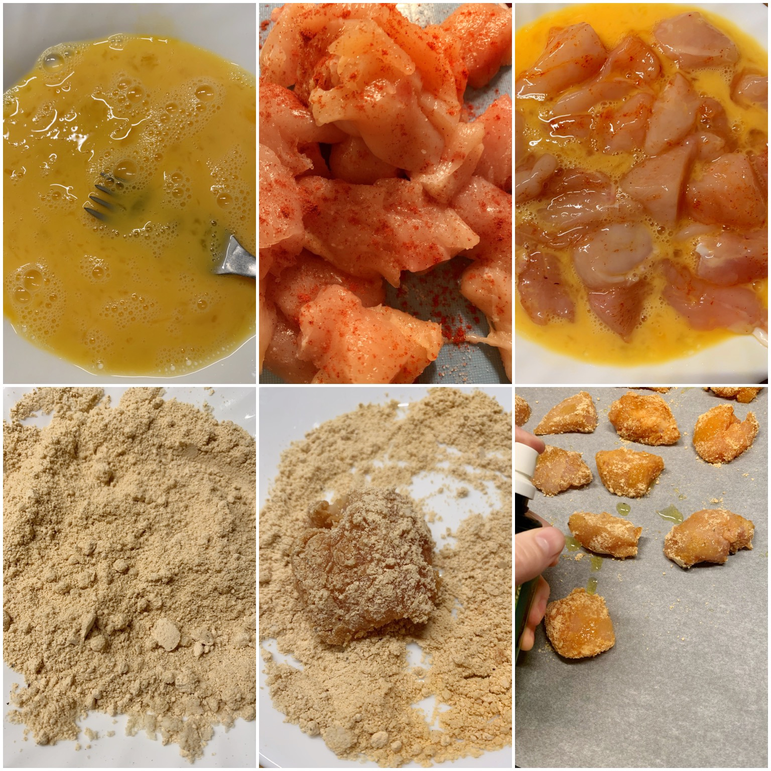 Picture of a procedure to make keto chicken nuggets with whisked eggs, chicken breasts and grain free keto coating with peanut flour and almond flour.