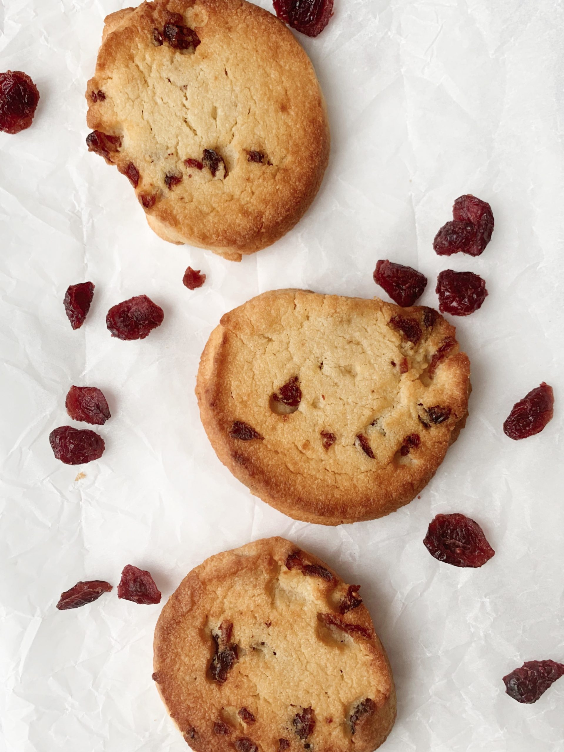Picture of baked keto slice and bake sugar cookies with cranberries and orange