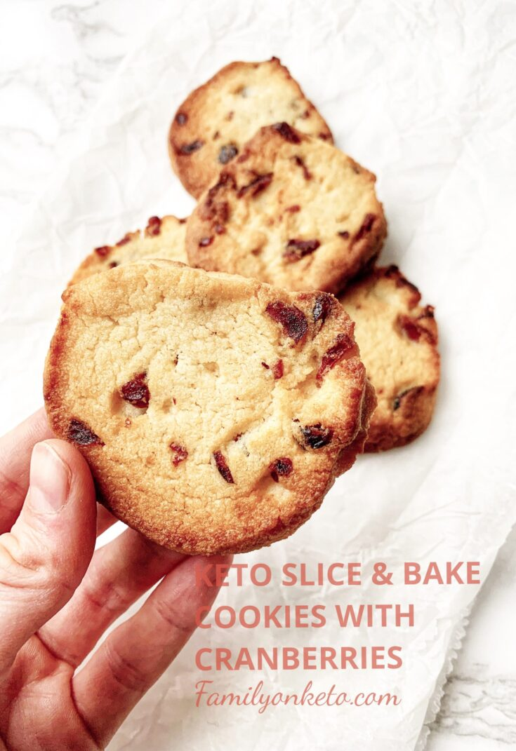 Picture of keto slice and bake sugar free cookies with cranberries