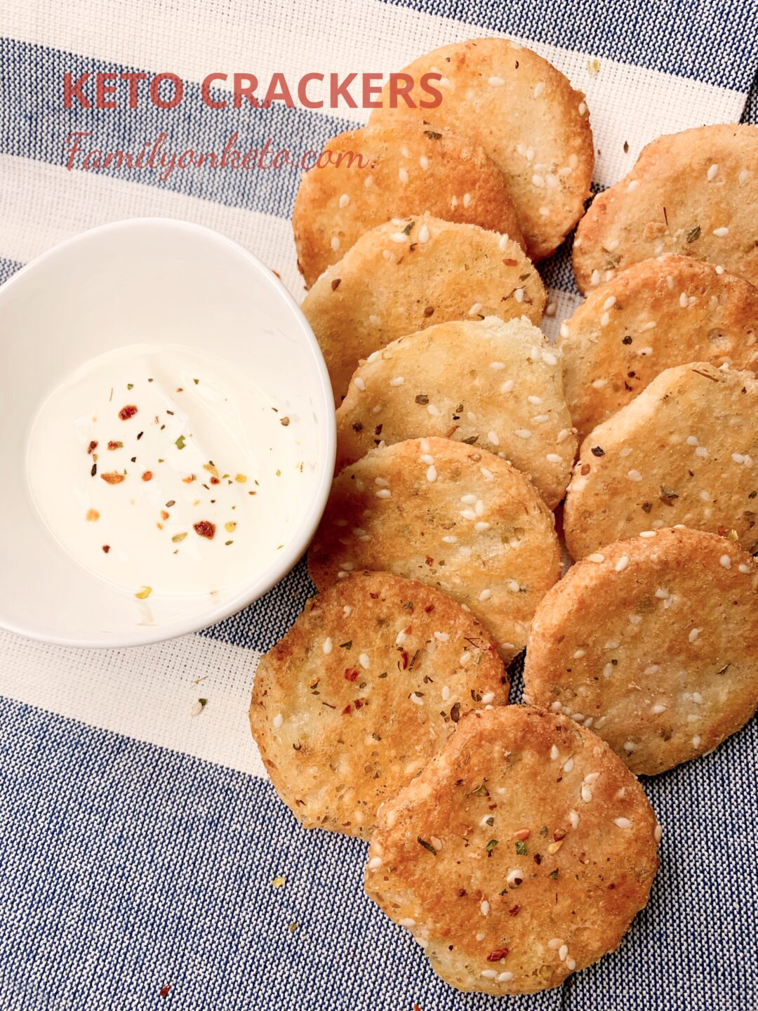 Picture of keto crackers without eggs on the table with low carb sour cream dip