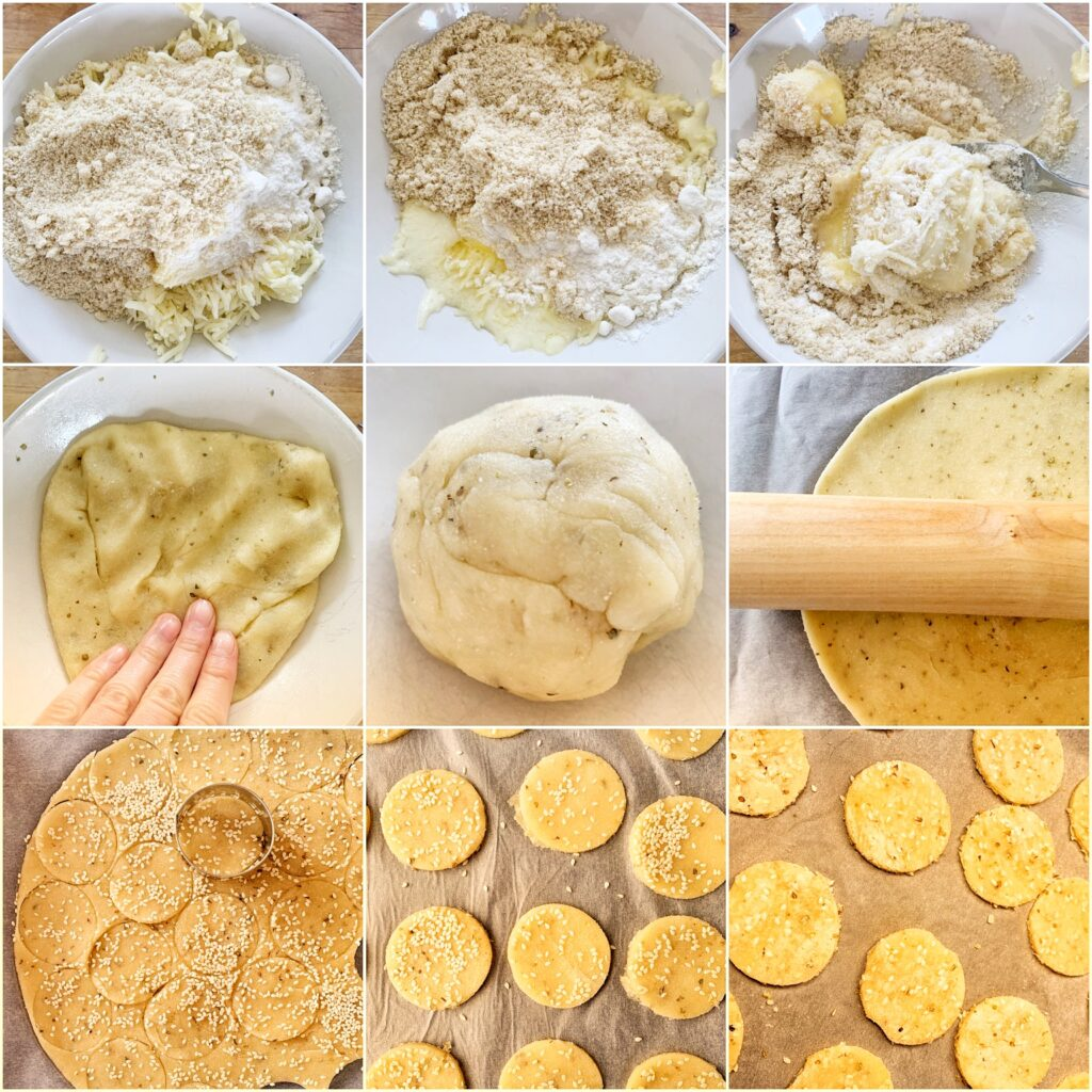Picture of a procedure to make keto crackers with fathead dough