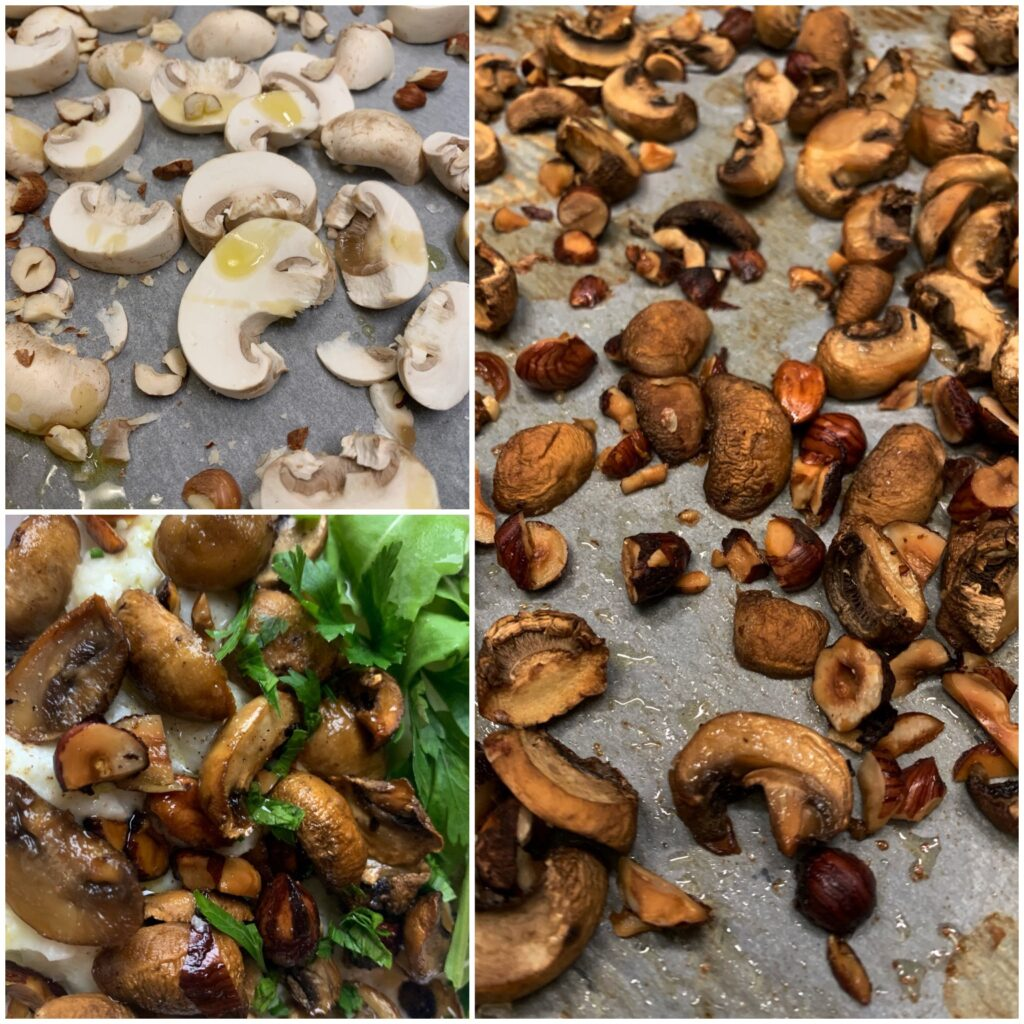 Picture of preparation of mushrooms in oven with hazelnuts