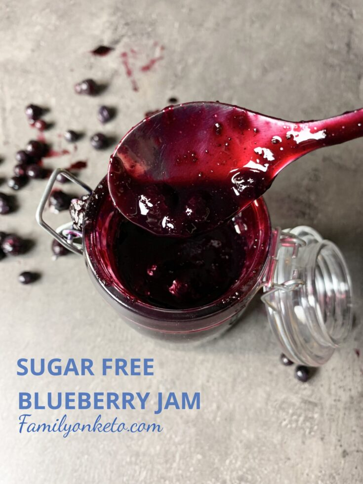 Picture of sugar free blueberry jam in jar