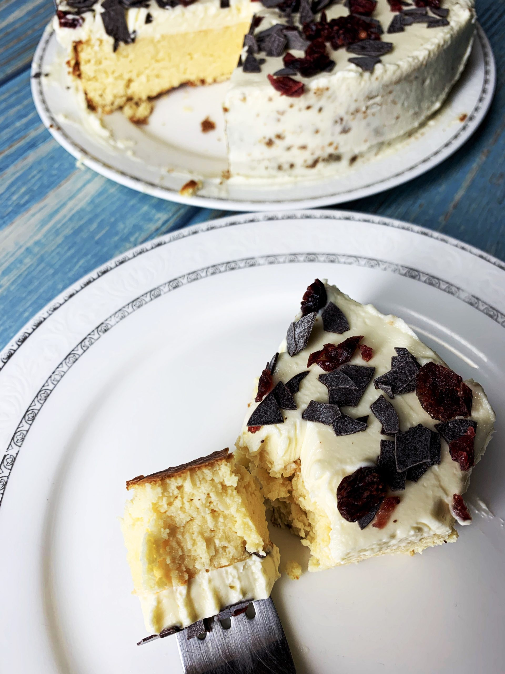 Picture of a slice of low carb yogurt cake