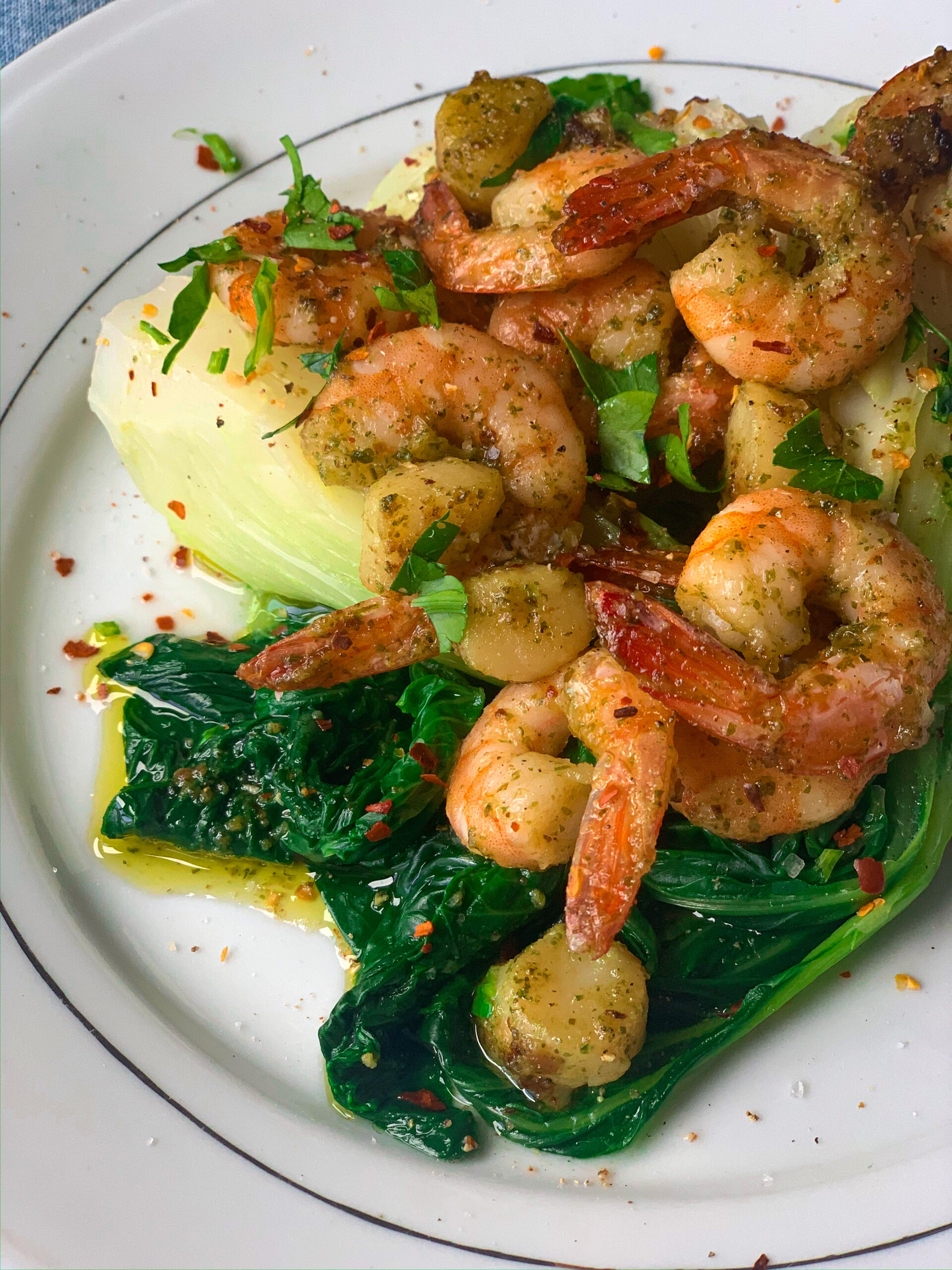 Picture of pak choi with chilli scallops and prawns