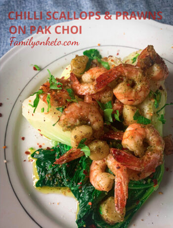 Picture of chilli scallops and prawns on pak choi with butter and garlic.