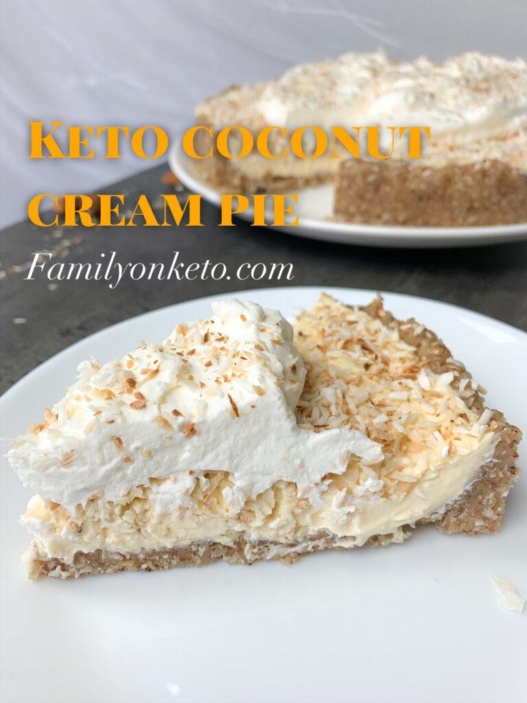 Picture of keto coconut cream pie slice on a plate