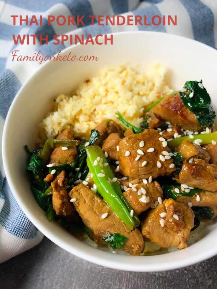 Picture of Thai pork tenderloin with spinach