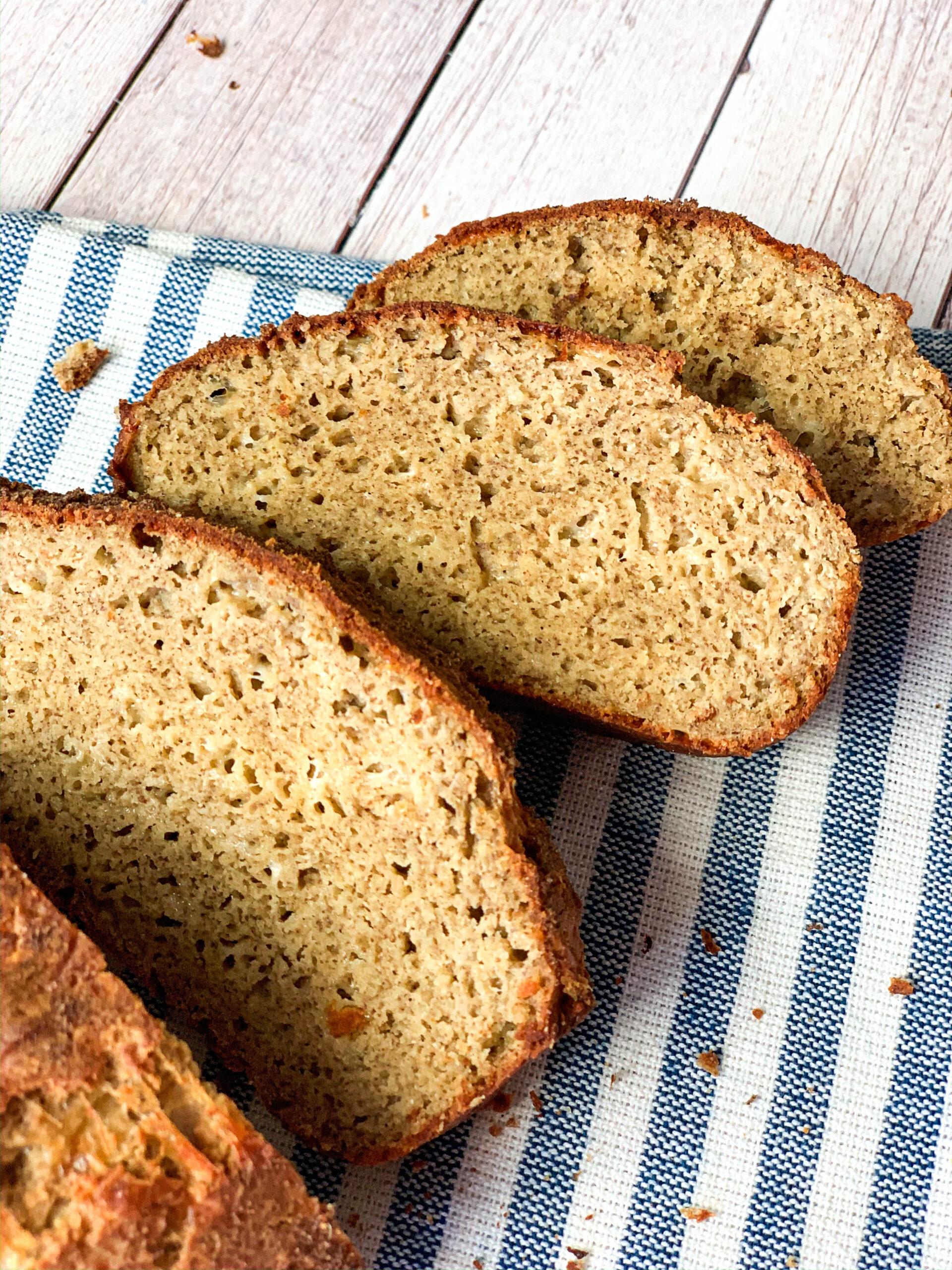Crispy yeast keto bread cut in sandwich slices