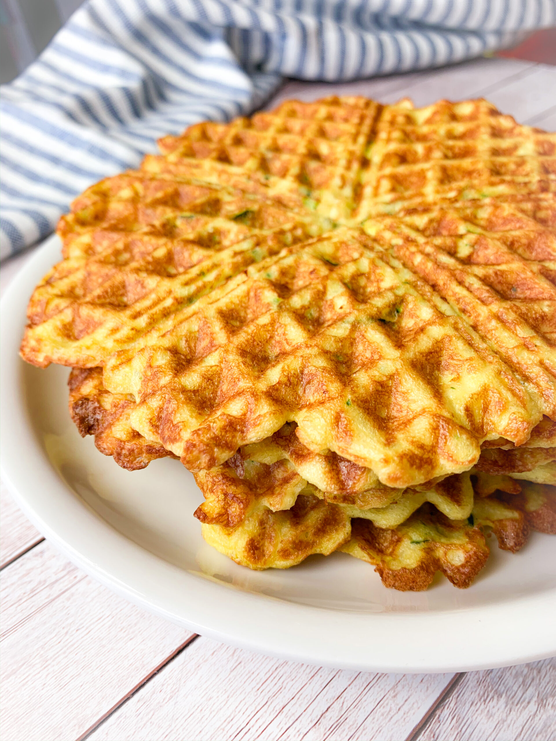 Low carb waffles with zucchini on a plate