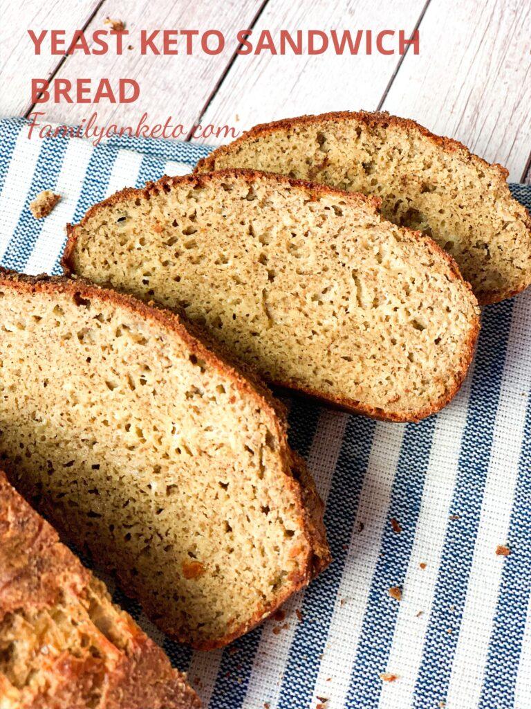 Yeast keto sandwich bread cut in slices
