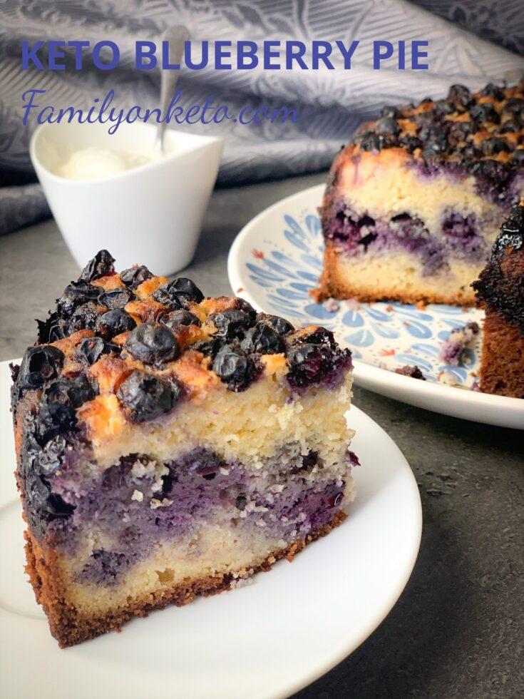 Slice of a keto blueberry pie