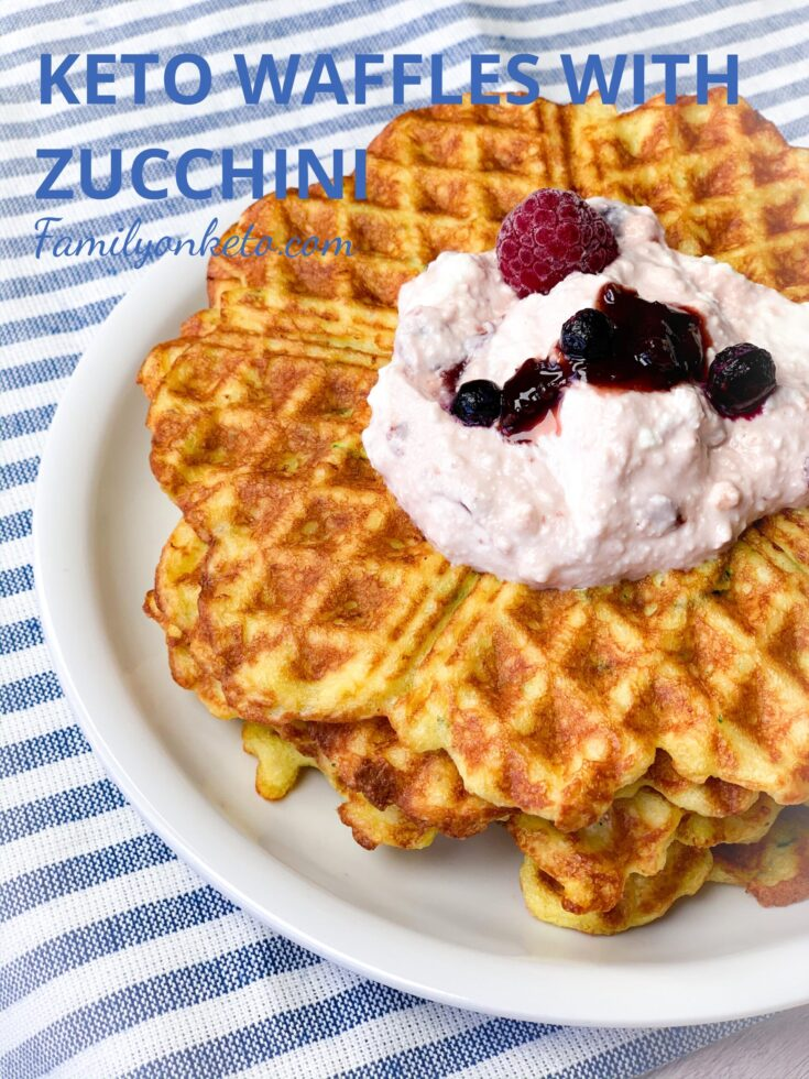 Picture of keto waffles with zucchini with keto topping of cottage cheese and sugar free jam