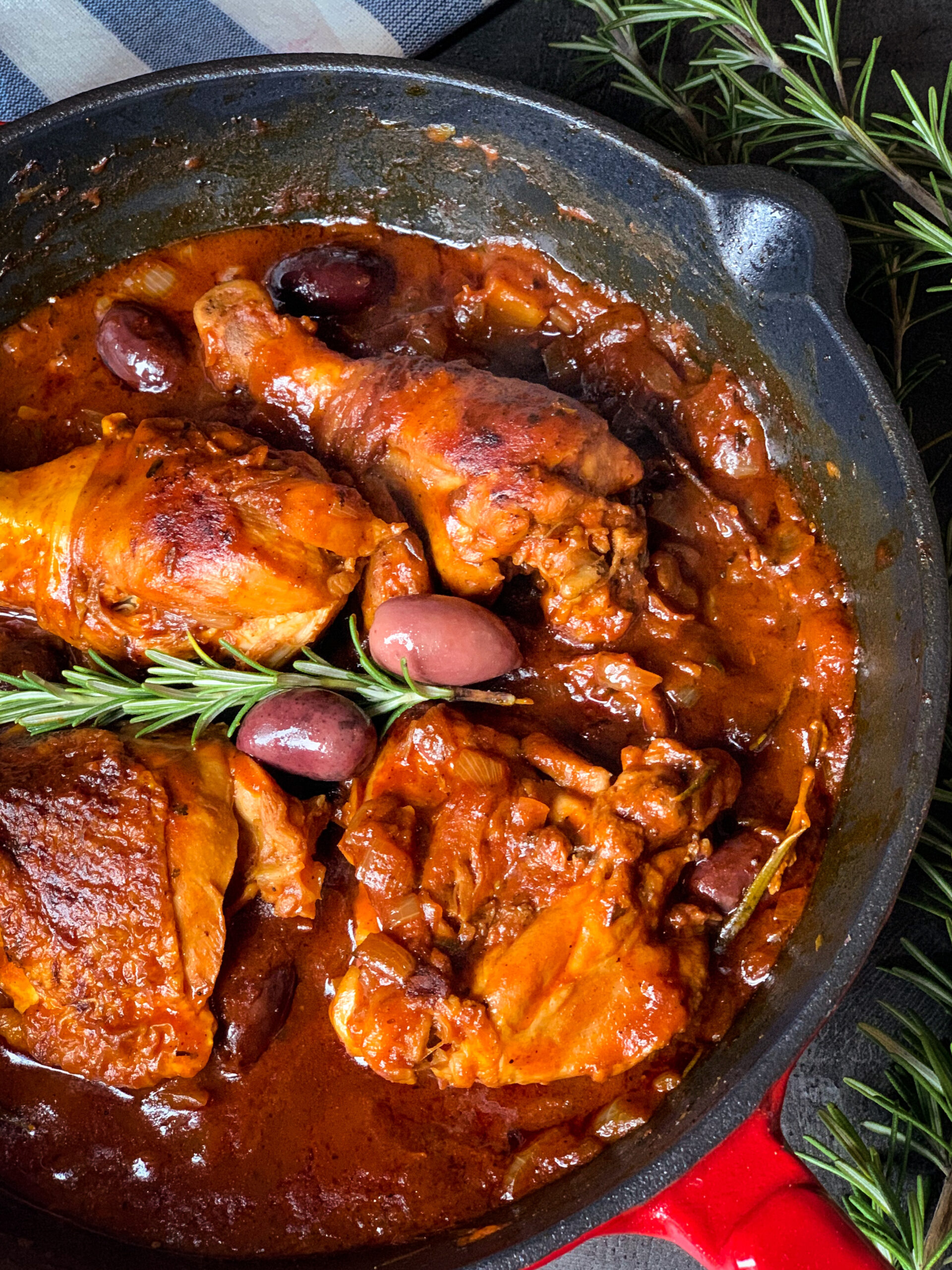 Picture of Mediterranean style chicken in sauce with wine, tomato and Mediterranean herbs