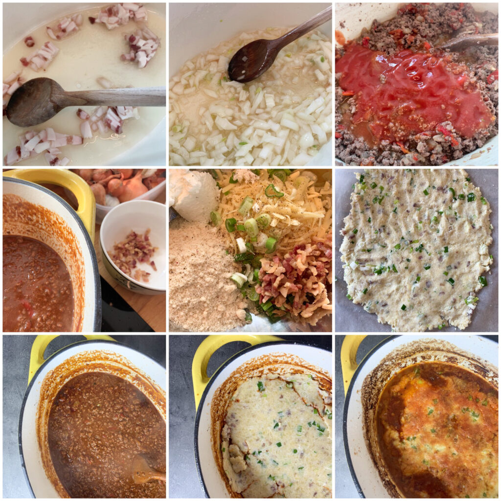 Picture of a procedure to make keto chili con carne with delicious low carb cheese crust