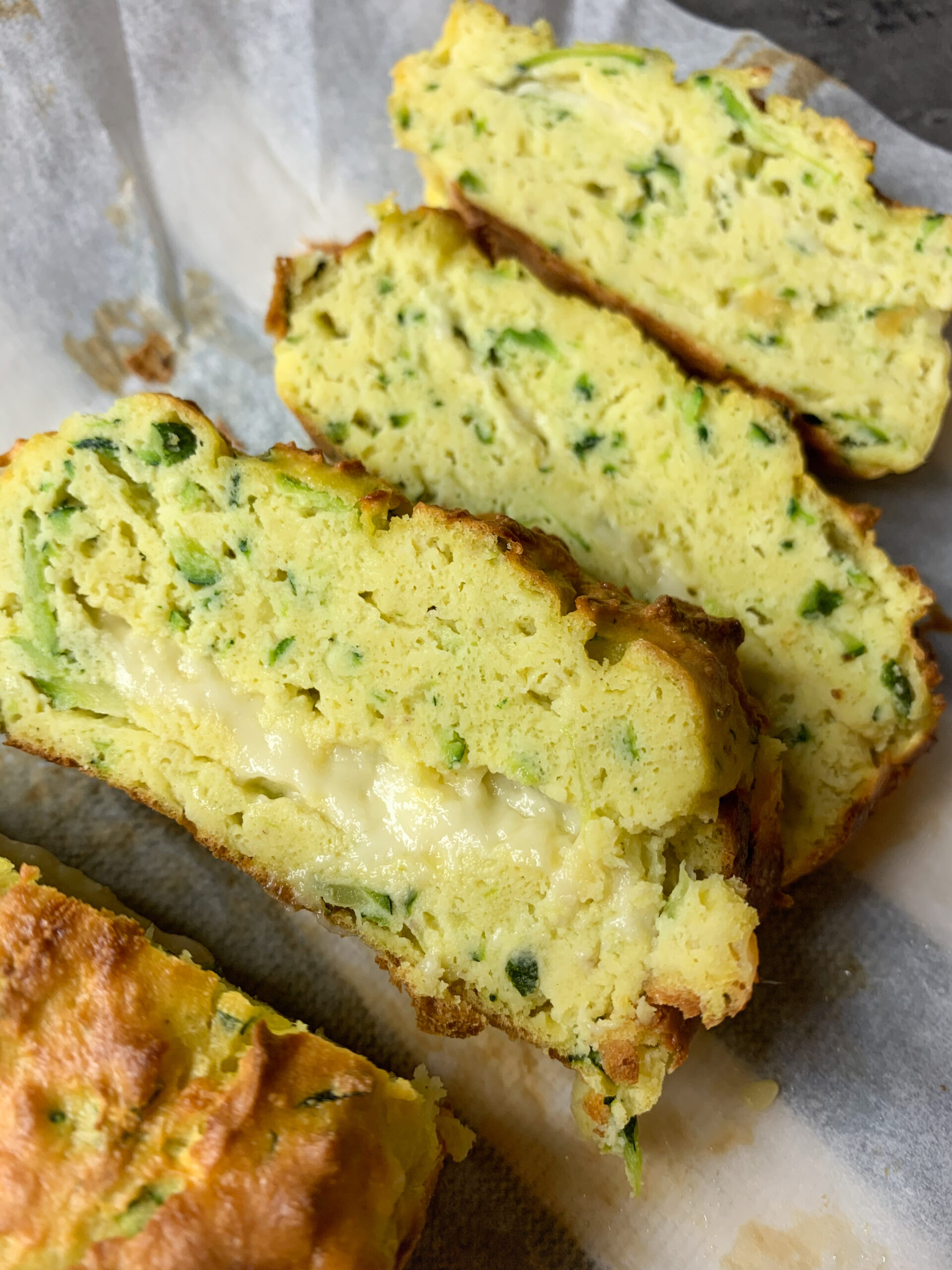 Picture of cheesy keto zucchini bread coconut flour and almond flour