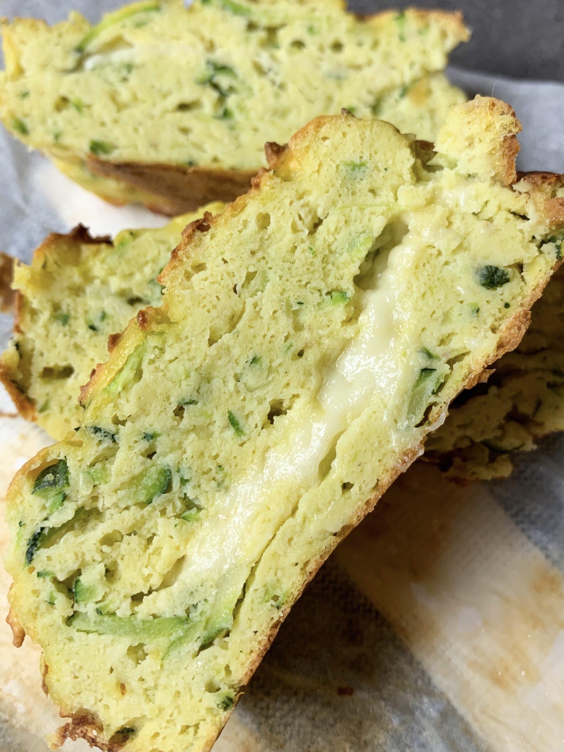 Picture of few slices of keto zucchini bread