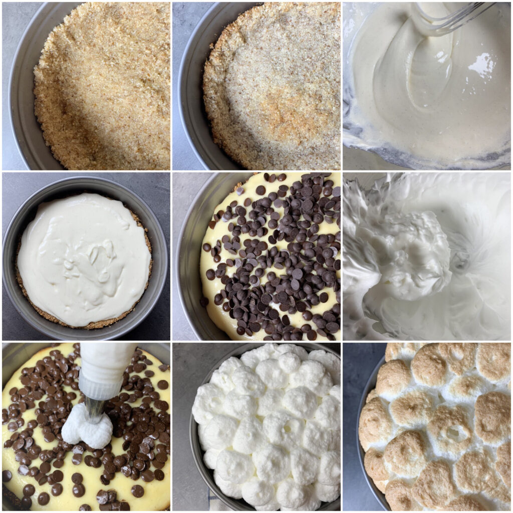 Picture of a procedure to make sugar free S'mores cheesecake keto recipe with chocolate