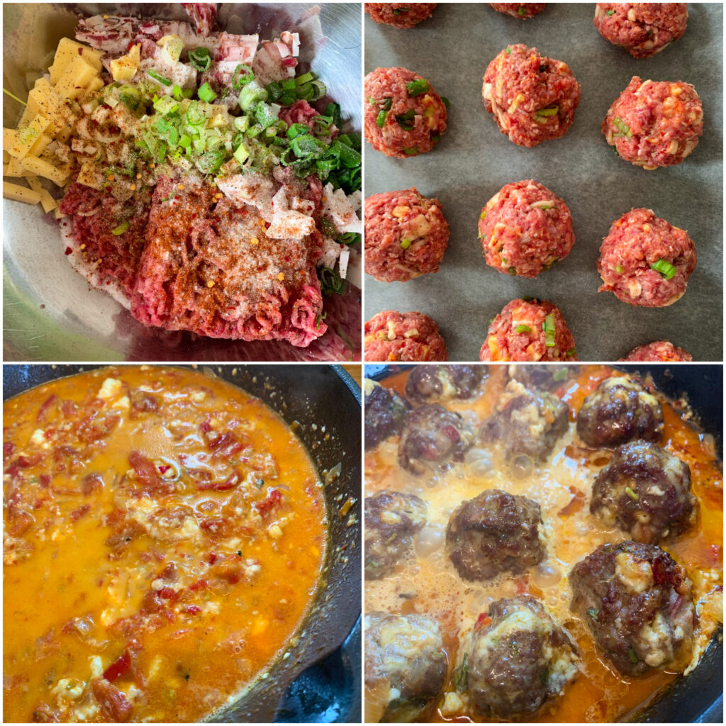 Picture of a procedure to make Balkan food meatballs with keto feta cheese and pepper sauce