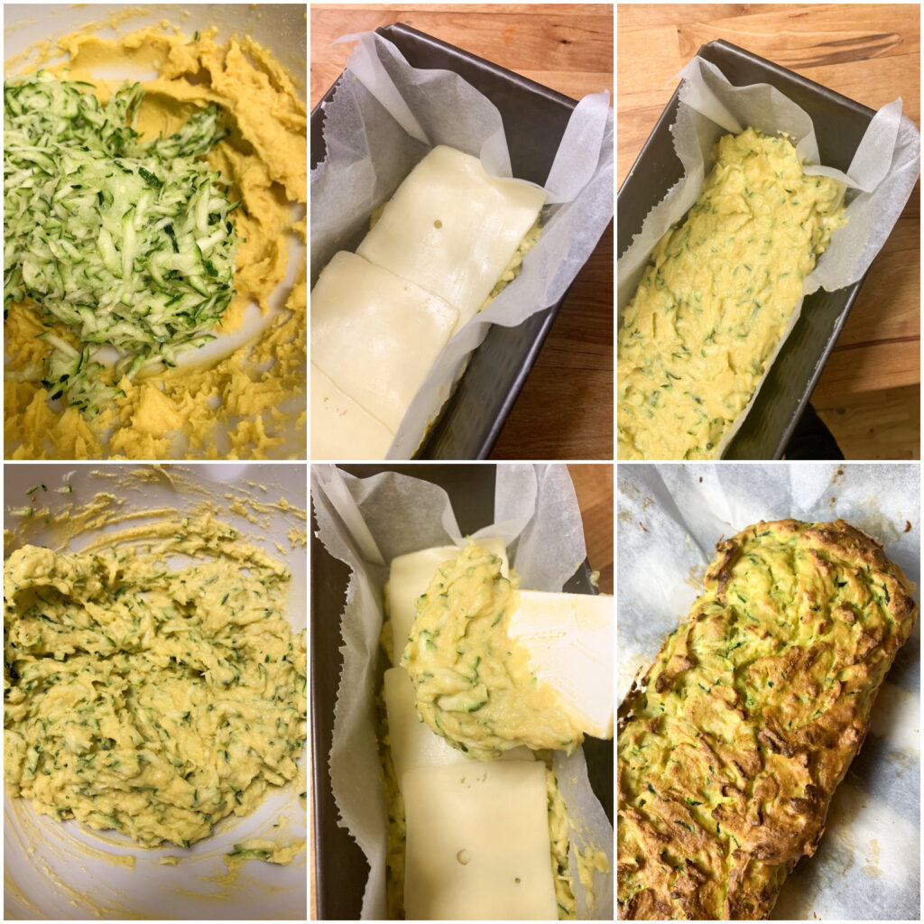 Picture of procedure to make low carb keto bread with zucchini and cheese slices